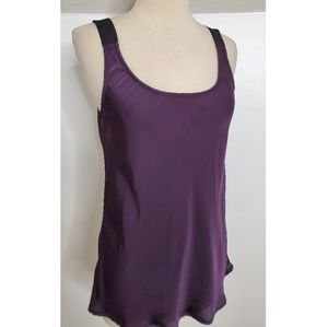 Theory Purple Tank With Wide Black Straps